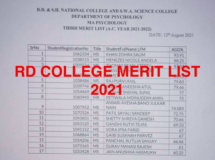 rd college online admission merit list 2021-22 download link announced