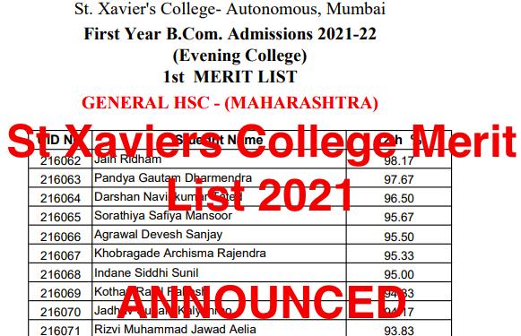 St Xaviers College Mumbai Merit List 2021 downloading links check xaviers.edu ba bsc bcom