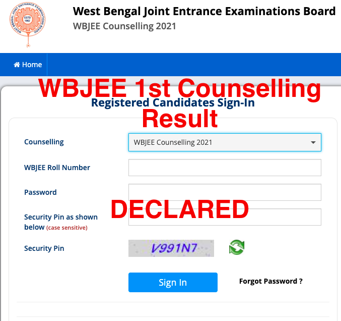 wbjee 1st counselling result 2021-22 declated - checking links wbjeeb.nic.in