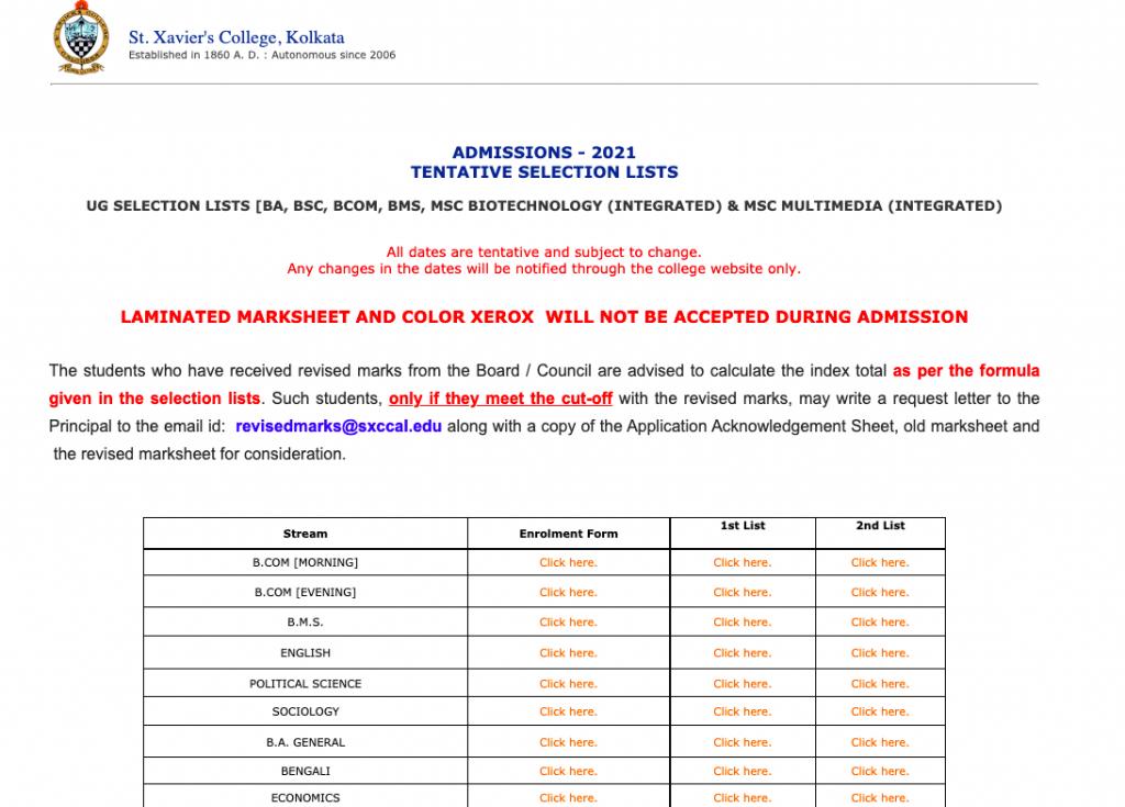 st xavier's college 3rd merit list 2021-22 download links released now