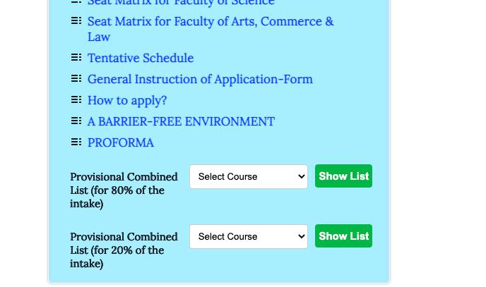nbu pg admission merit list 2021-22 download links pdf