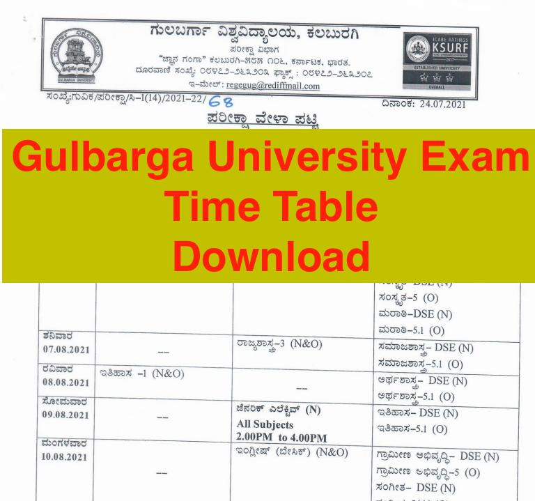 gulbarga university exam time table 2021-22 download pdf ba bsc bcom ma msc mcom even odd sem