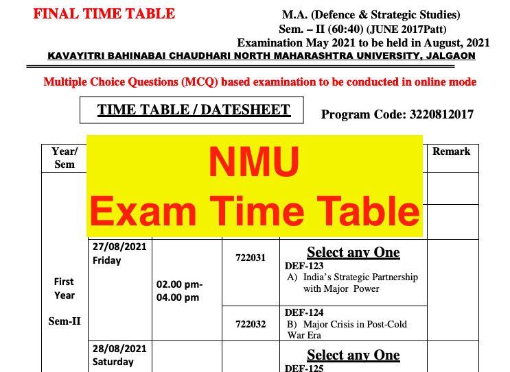 nmu exam time table 2021 - download for ba bsc bcom