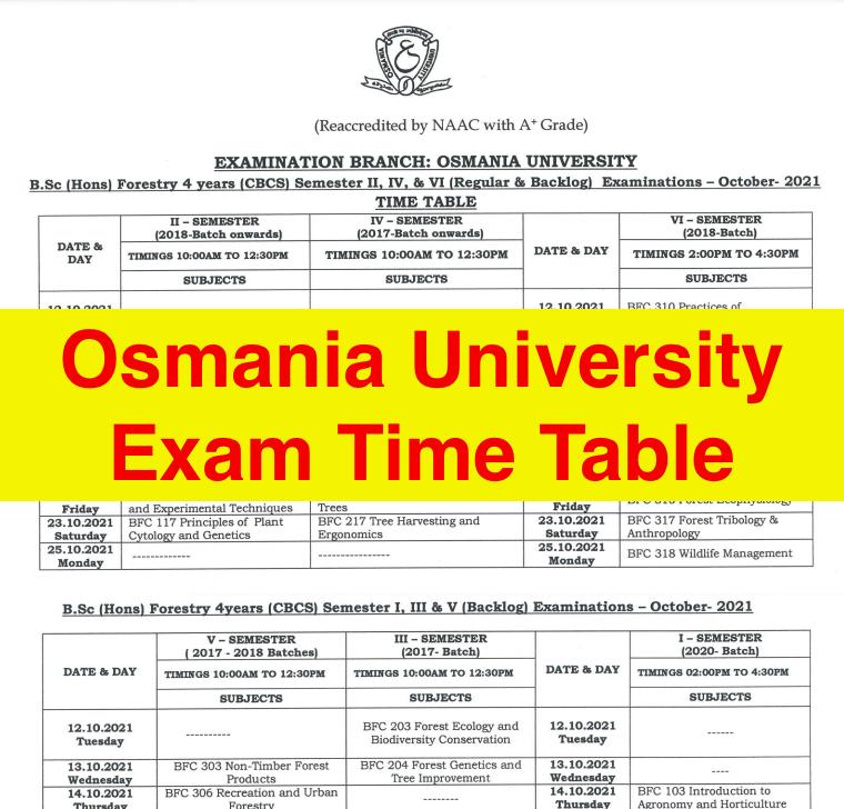 osmania university exam time table 2021-22 download ug pg 2nd 4th 6th semester