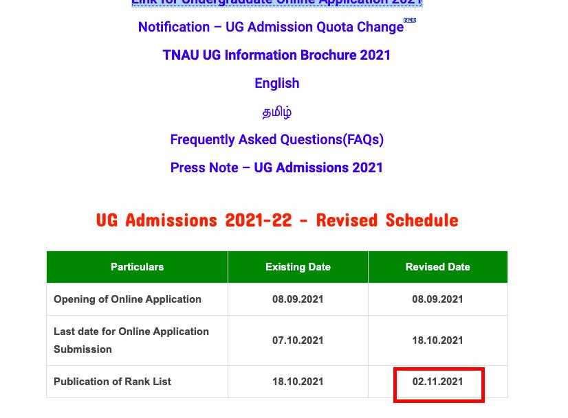tnau rank list 2021-22 new schedule announced